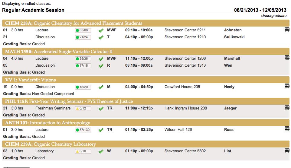 sample college class schedule