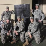 Some strapping ROTC lads posing with the board at the Vandy-UT game.