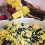 A wild mushroom, spinach and Asiago scrambler, with a side of chocolate French toast, sausage and fresh fruit… I know.