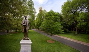 Cornelius Vanderbilt Statue, Kirkland Hall in background.