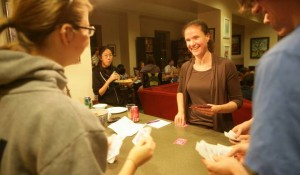 FHOH Terhune enjoys game night with some students