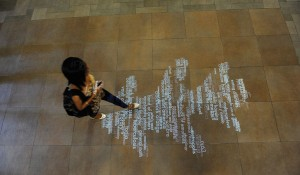 The lobby in Central Library, the floor of which features an interactive graphic comprised of search terms being entered in real time by library visitors (Credit: Creative Services)