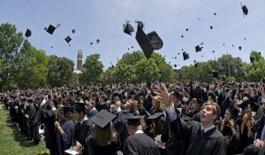 Caps fly as the inaugural Ingram Commons class graduates from Vanderbilt (Creative Services/Vanderbilt)