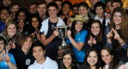 North Hall residents with the 2012 Commons Cup trophy