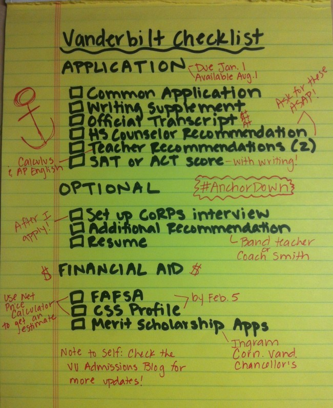 Using The Application Quickguide  The Vandy Admissions Blog