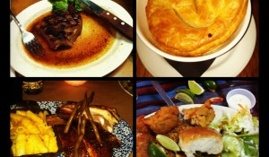 Clockwise from top left: Oklahoma City steak, Austin chicken pot pie, Houston fried seafood, Dallas BBQ.  Yum.
