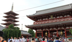 Some traditional Japanese archetecture at the Asakusa Kannon Temple in Tokyo.