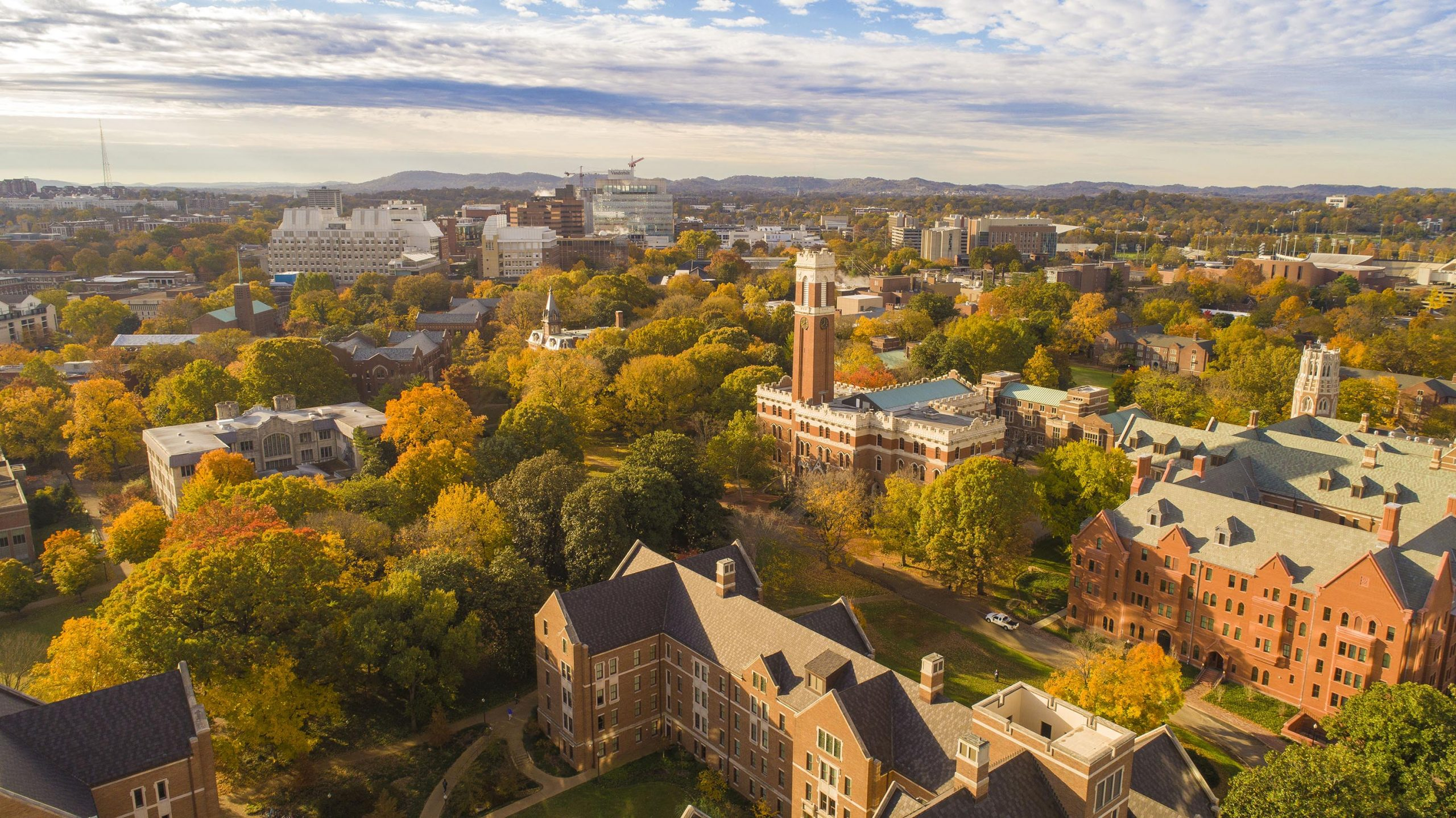 Aerial images of Vanderbilt Campus and Kirkland Hall