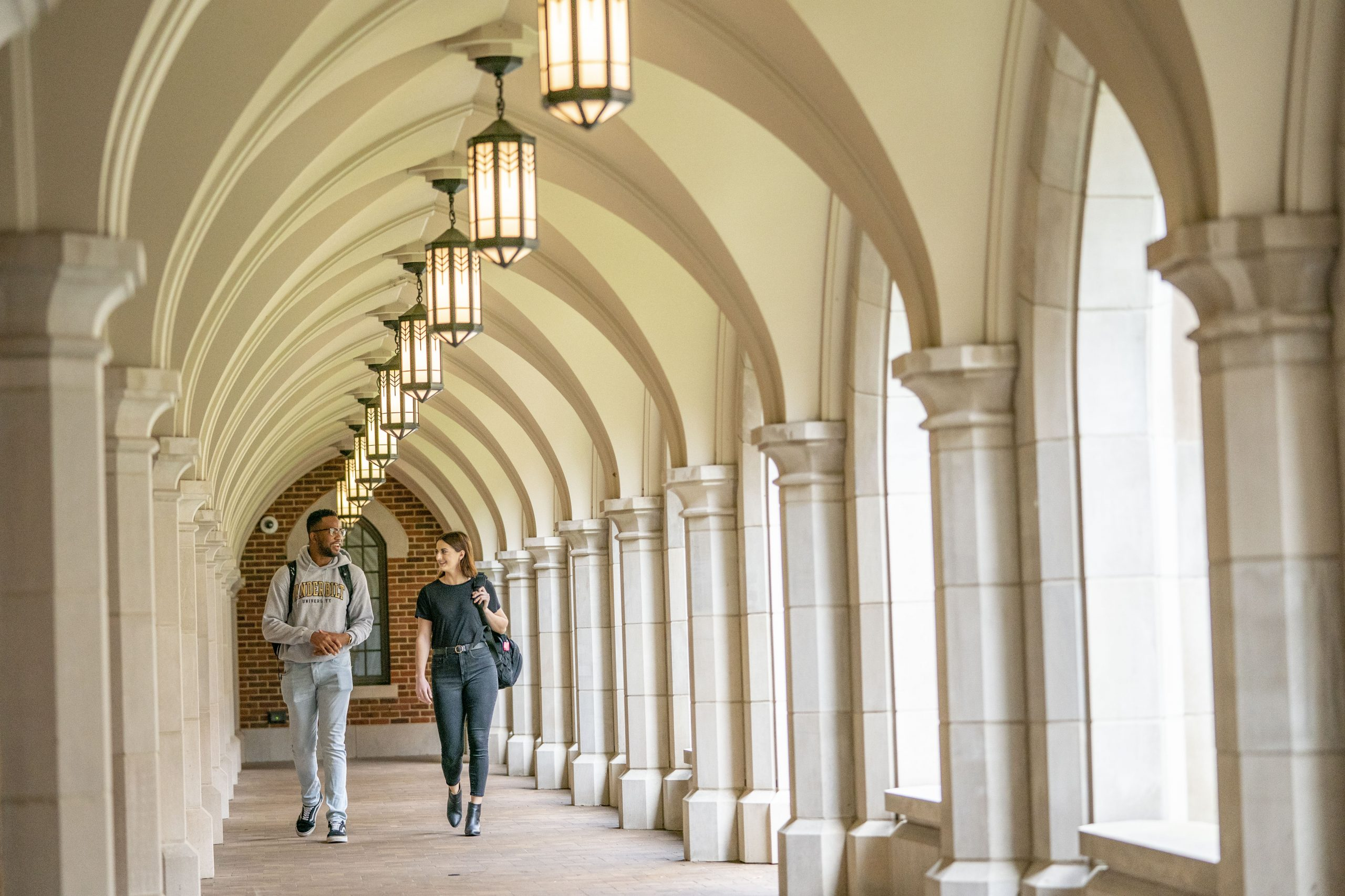 students walking through a residential college