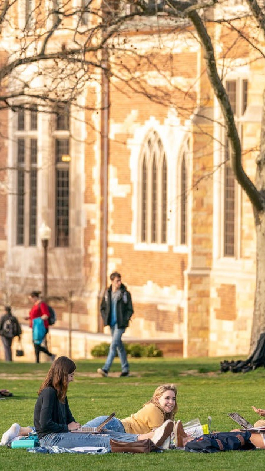 testStudents enjoy a warm February afternoon on Alumni Lawn.(John Russell/Vanderbilt University)