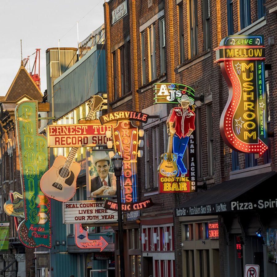 Downtown Nashville street scenes along Broadway and in The Gulch.(John Russell/Vanderbilt University)