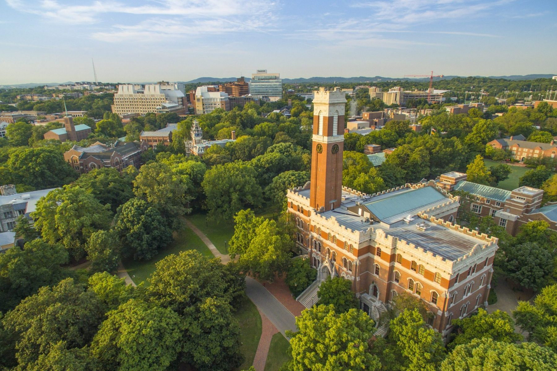 aerial campus photo with Kirkland Hall