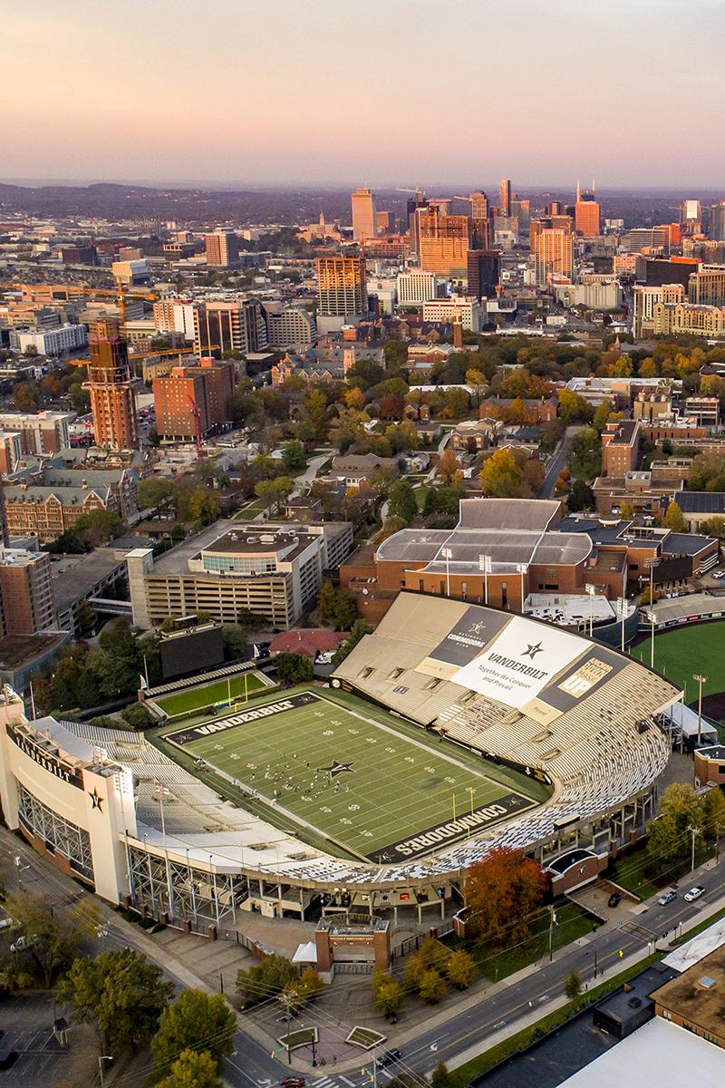 Vanderbilt stadium and the city of Nashville beyond