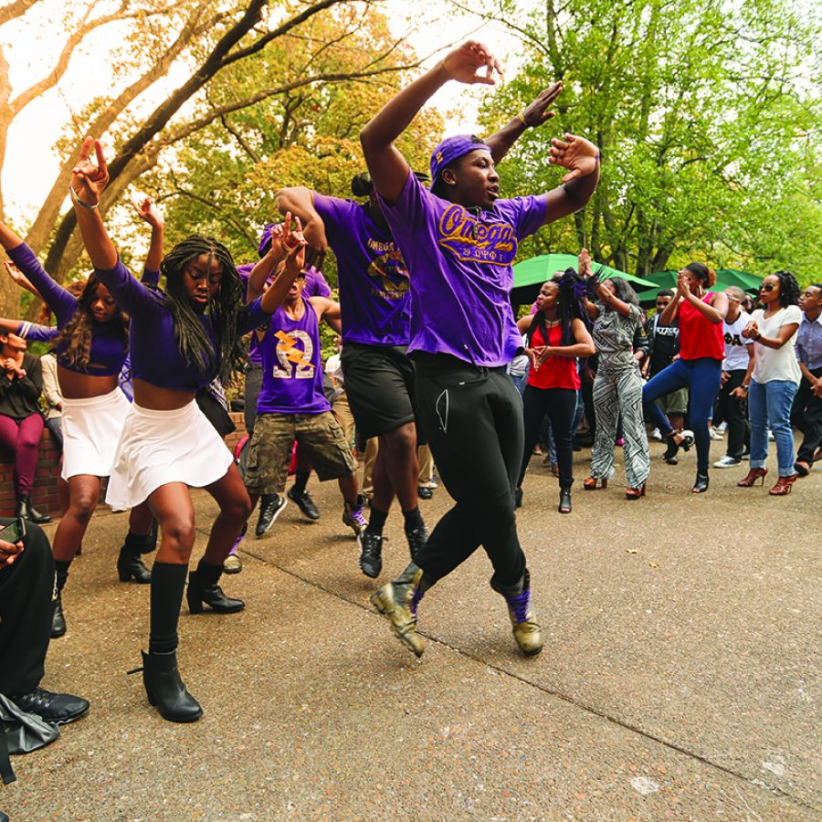 Fraternity and Sorority houses put on a Step Show outside Rand Hall during Reunion Weekend. (John Russell/Vanderbilt University)