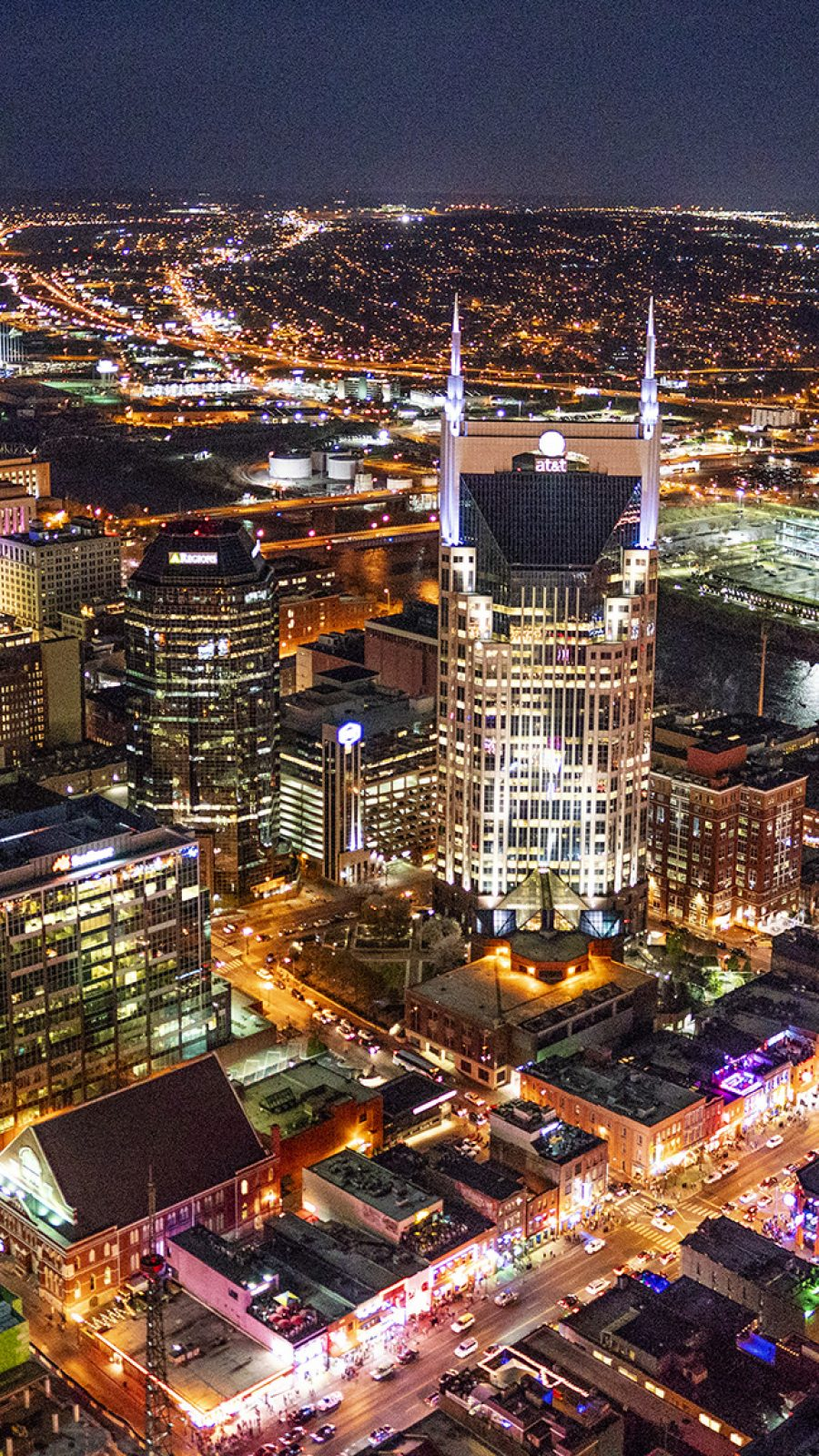 Aerial photo of Downtown Nashville including the Titans Football Stadium.  (Photo by Joe Howell)